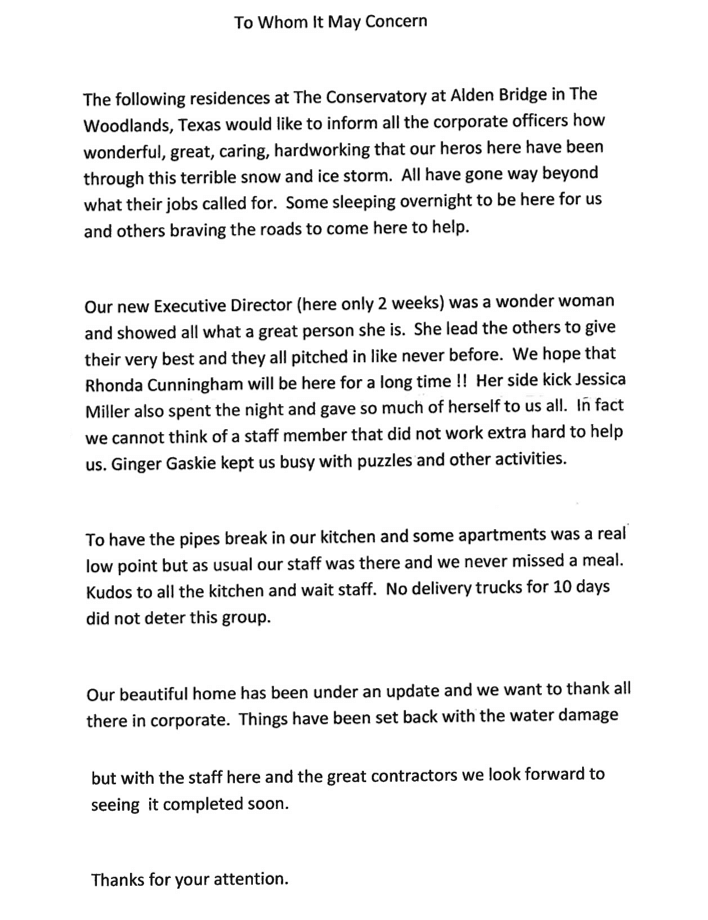 CAB Resident Letter Page